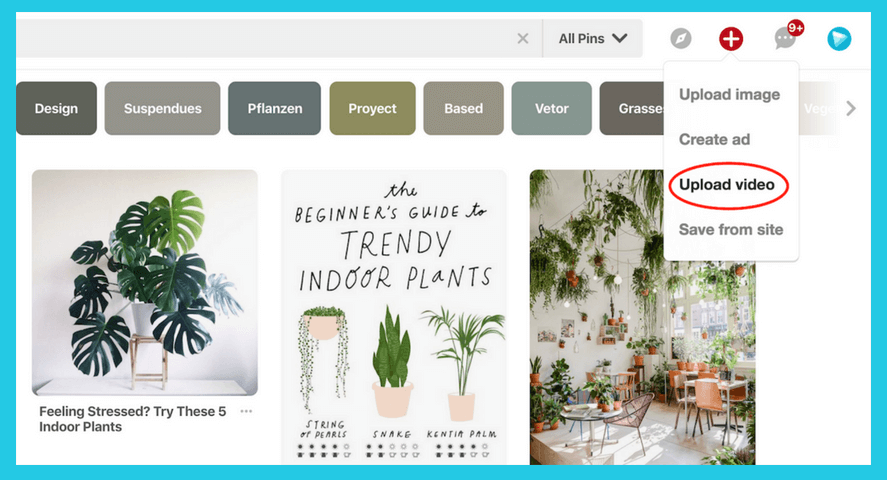 Upload video to pinterest