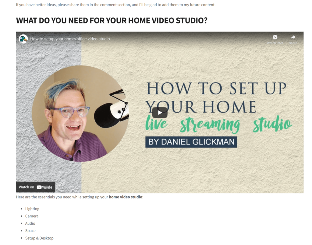 Embed your livestream into a blog post